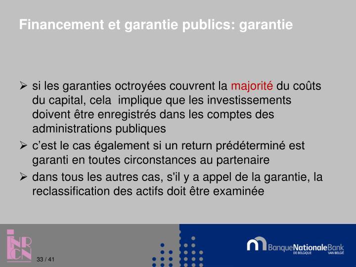 Financement et garantie publics: garantie