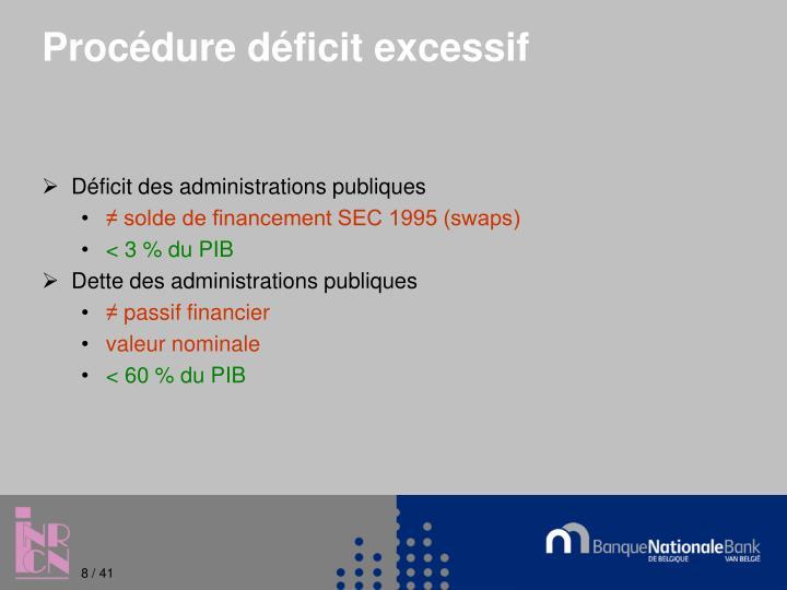 Procédure déficit excessif