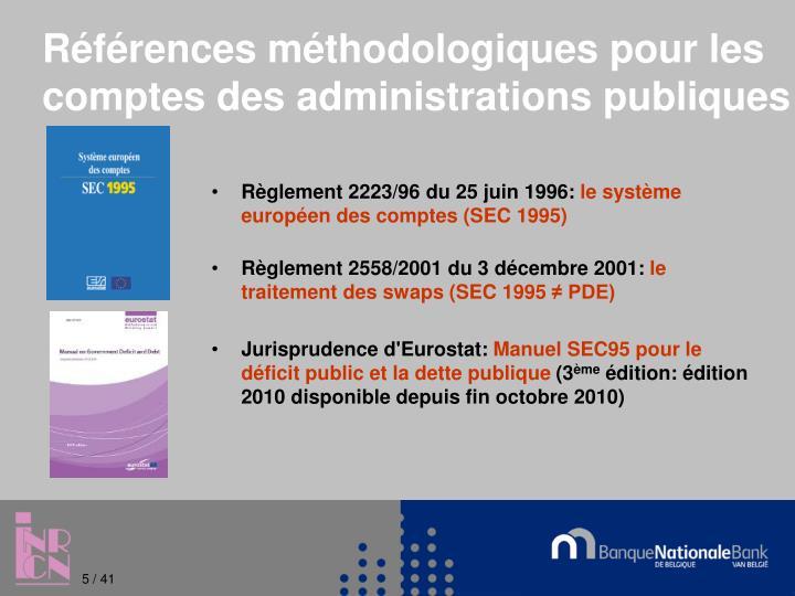 Références méthodologiques pour les comptes des administrations publiques