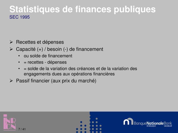 Statistiques de finances publiques
