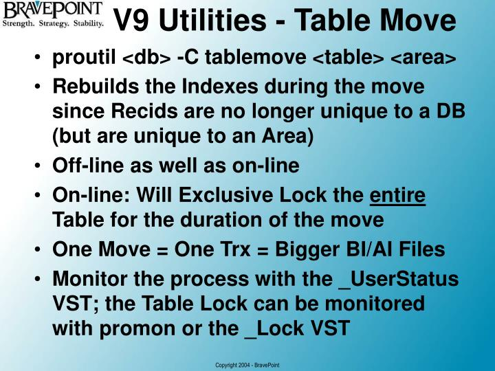 V9 Utilities - Table Move