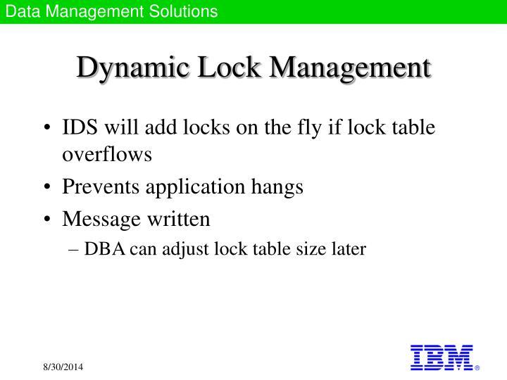 Dynamic Lock Management