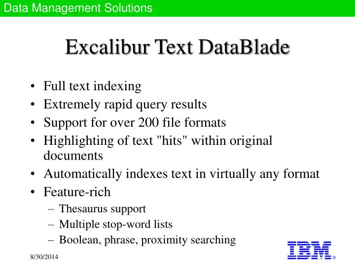 Excalibur Text DataBlade