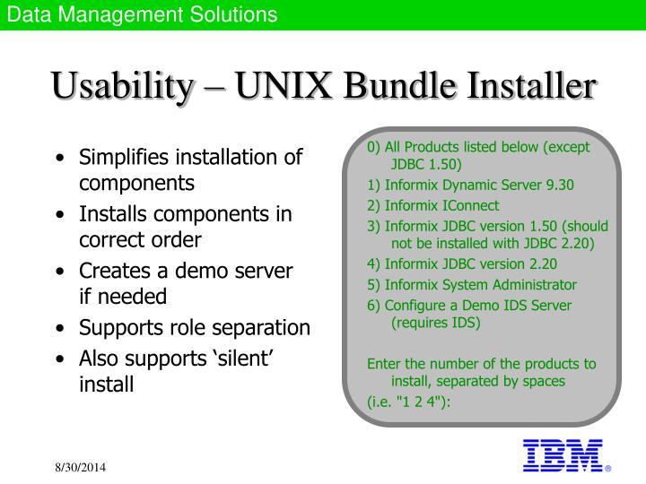 Usability unix bundle installer
