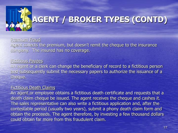 AGENT / BROKER TYPES (CONTD)