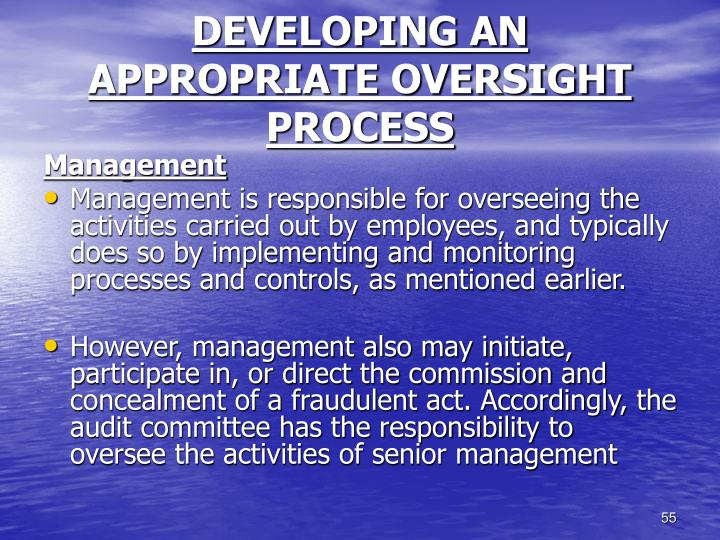 DEVELOPING AN APPROPRIATE OVERSIGHT PROCESS