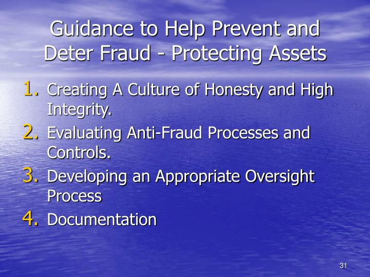 Guidance to Help Prevent and Deter Fraud - Protecting Assets