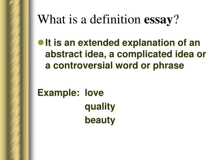extended definition essay about love Open document below is an essay on the definition of respect from anti essays, your source for research papers, essays, and term paper examples.