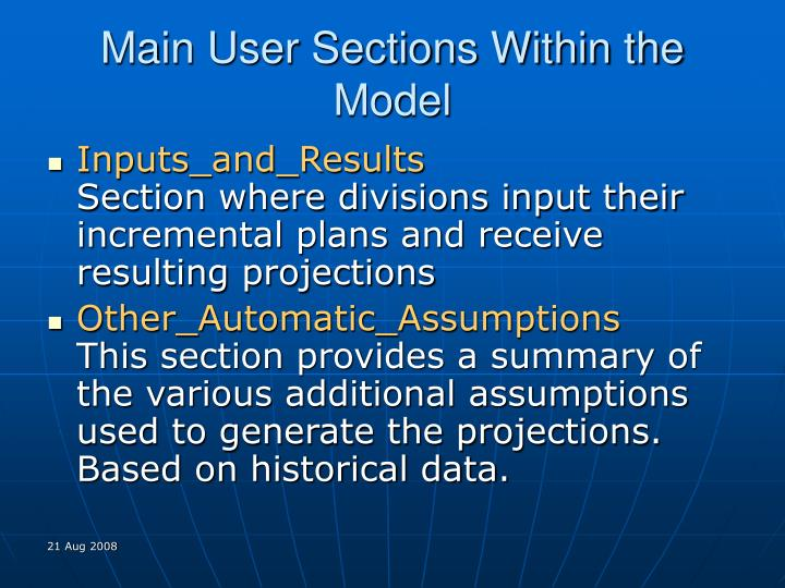 Main User Sections Within the Model