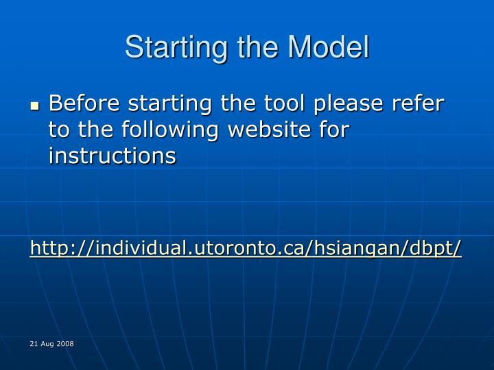 Starting the model
