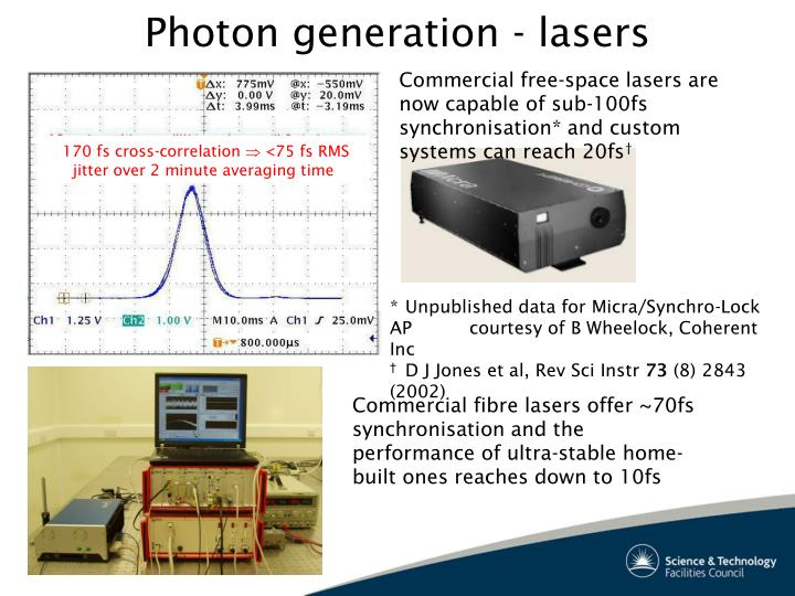 Commercial fibre lasers offer ~70fs synchronisation and the performance of ultra-stable home-built ones reaches down to 10fs