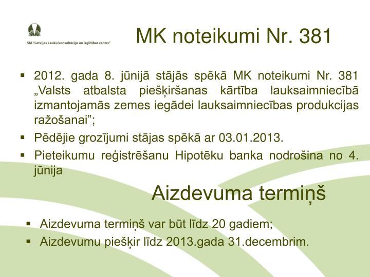 Mk noteikumi nr 381