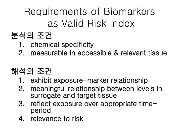 Requirements of Biomarkers