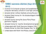 vabc success stories sept 2012 nov 2013