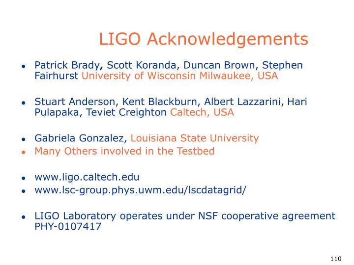 LIGO Acknowledgements