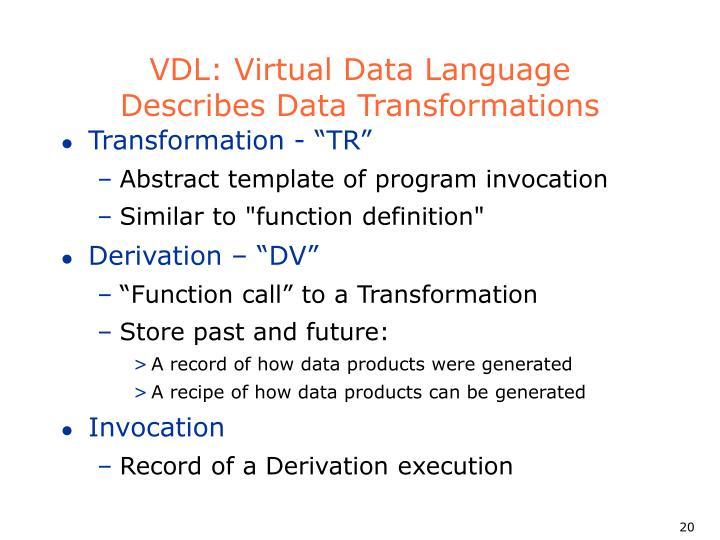VDL: Virtual Data Language