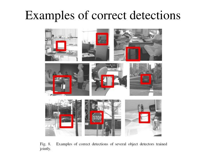 Examples of correct detections