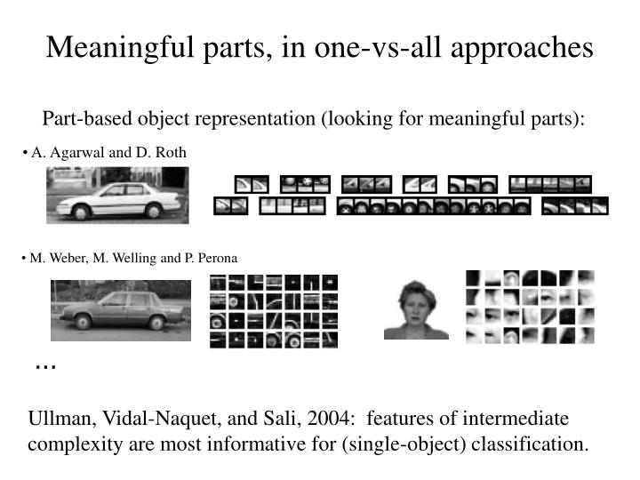 Meaningful parts, in one-vs-all approaches