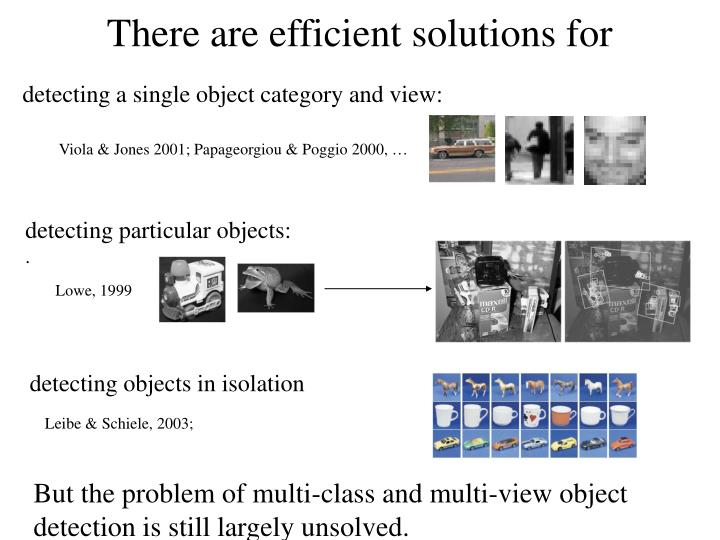 detecting a single object category and view: