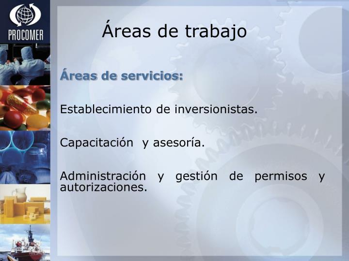 Áreas de trabajo