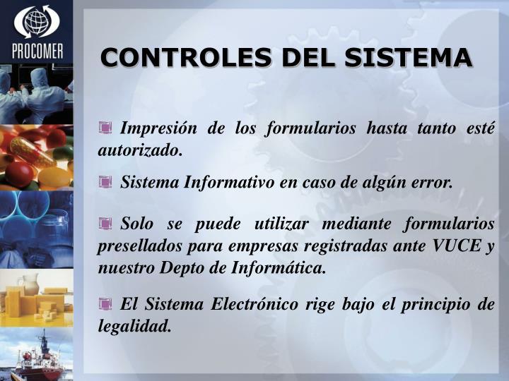CONTROLES DEL SISTEMA