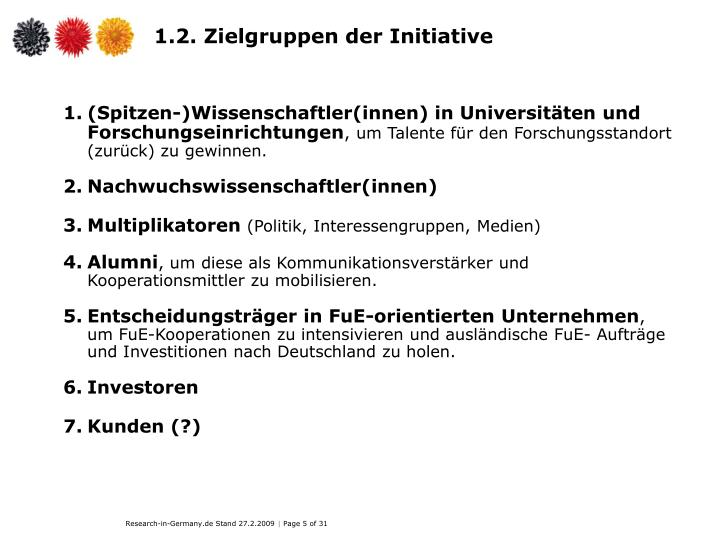 1.2. Zielgruppen der Initiative