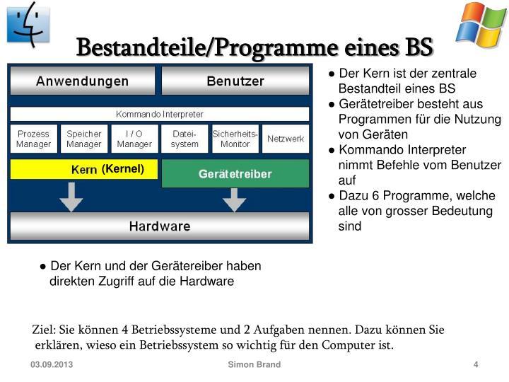 Bestandteile/Programme eines BS