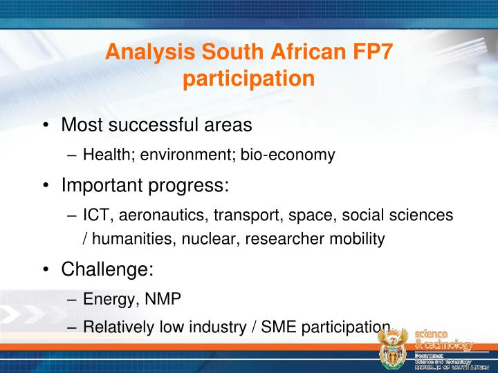 Analysis South African FP7 participation
