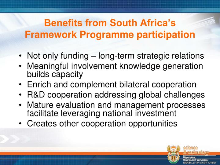 Benefits from South Africa's Framework Programme participation