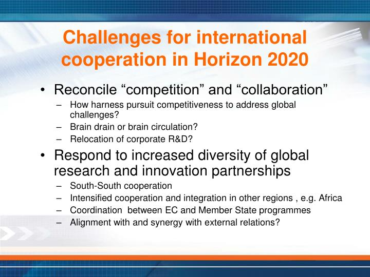 Challenges for international cooperation in Horizon 2020