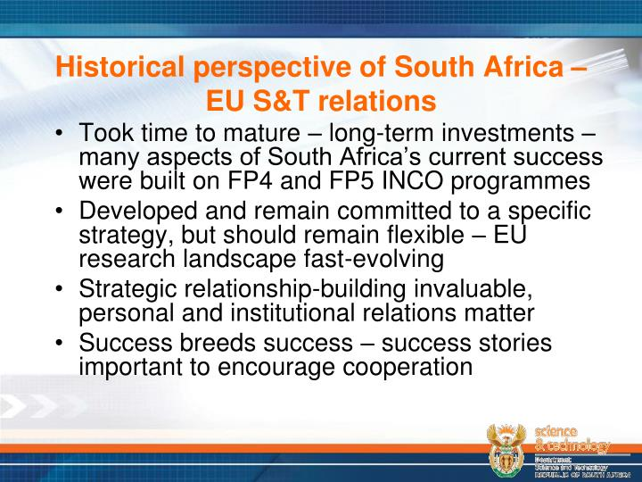 Historical perspective of South Africa – EU S&T relations