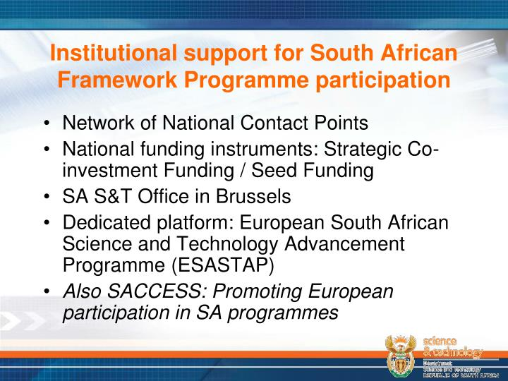 Institutional support for South African Framework Programme participation