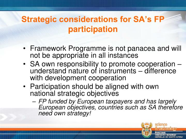 Strategic considerations for SA's FP participation