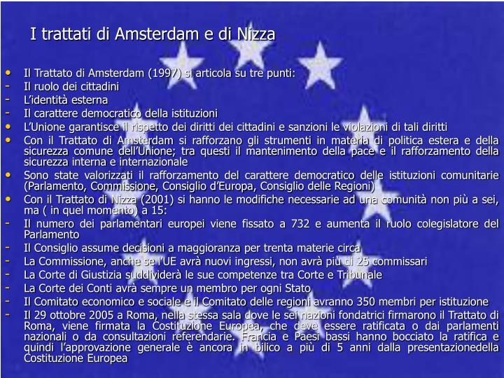 I trattati di Amsterdam e di Nizza