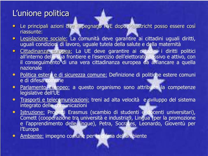 L'unione politica