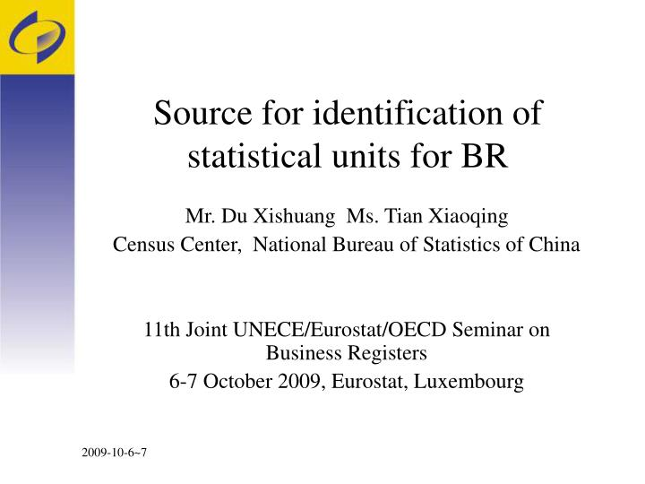 source for identification of statistical units for br n.