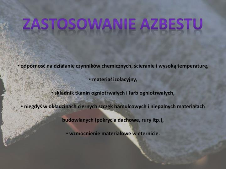 Zastosowanie azbestu