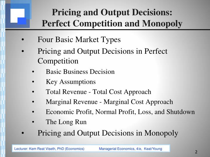 assumptions of monopoly