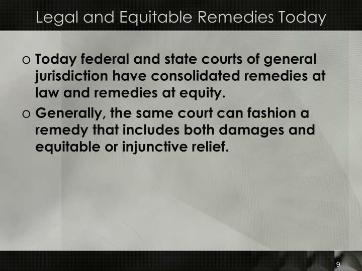 Legal and Equitable Remedies Today