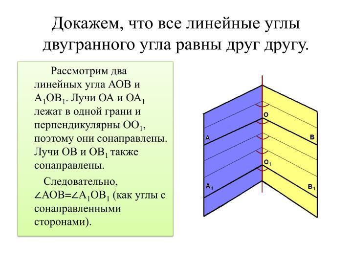 Докажем, что все линейные углы двугранного угла равны друг другу.