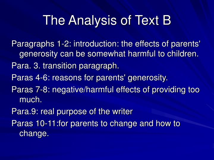 The Analysis of Text B