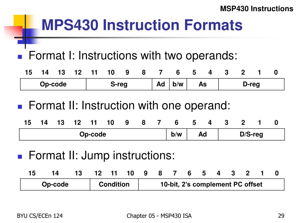 PPT - Chapter 5 – MSP430 ISA The Instruction Set PowerPoint