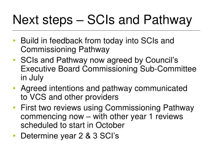 Next steps – SCIs and Pathway