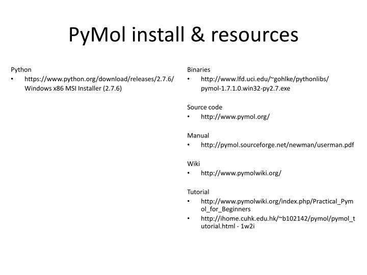 Pymol install resources