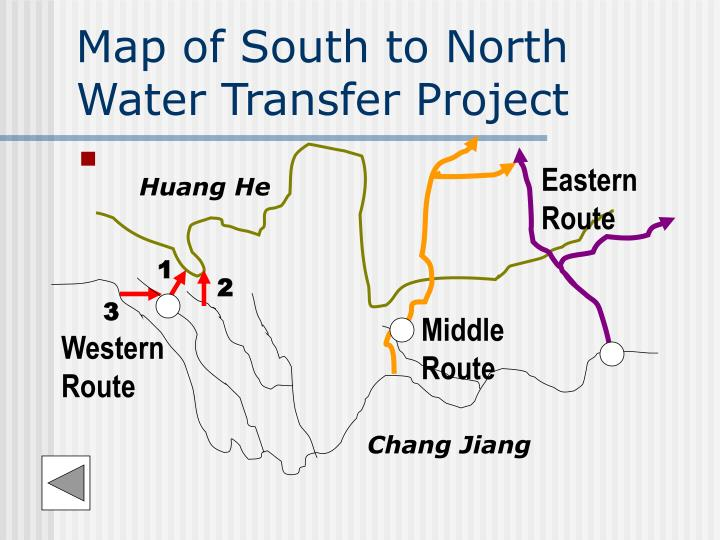 Map of south to north water transfer project