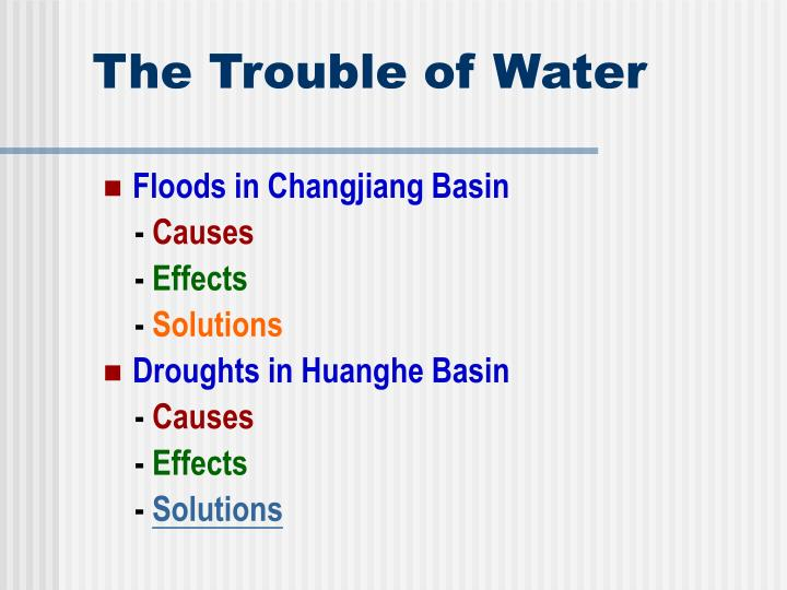 The trouble of water