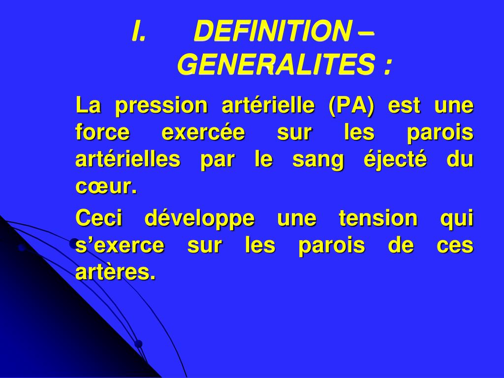PPT - REGULATION DE LA PRESSION ARTERIELLE PowerPoint..