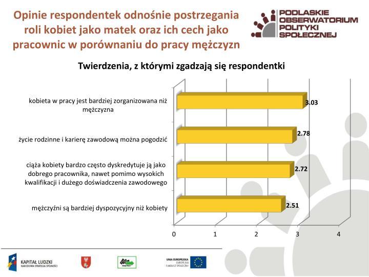 Opinie respondentek odnośnie postrzegania roli kobiet jako matek oraz ich cech jako pracownic w porównaniu do pracy mężczyzn