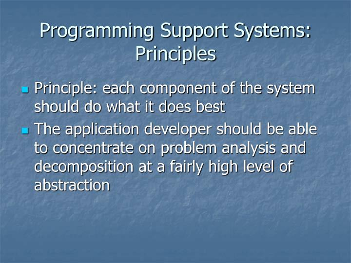 Programming support systems principles