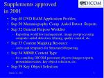 supplements approved in 2001